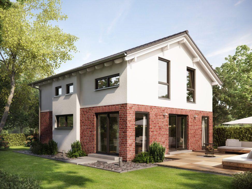 Fertighaus mit Satteldach & Klinker Putz Fassade, 5 Zimmer