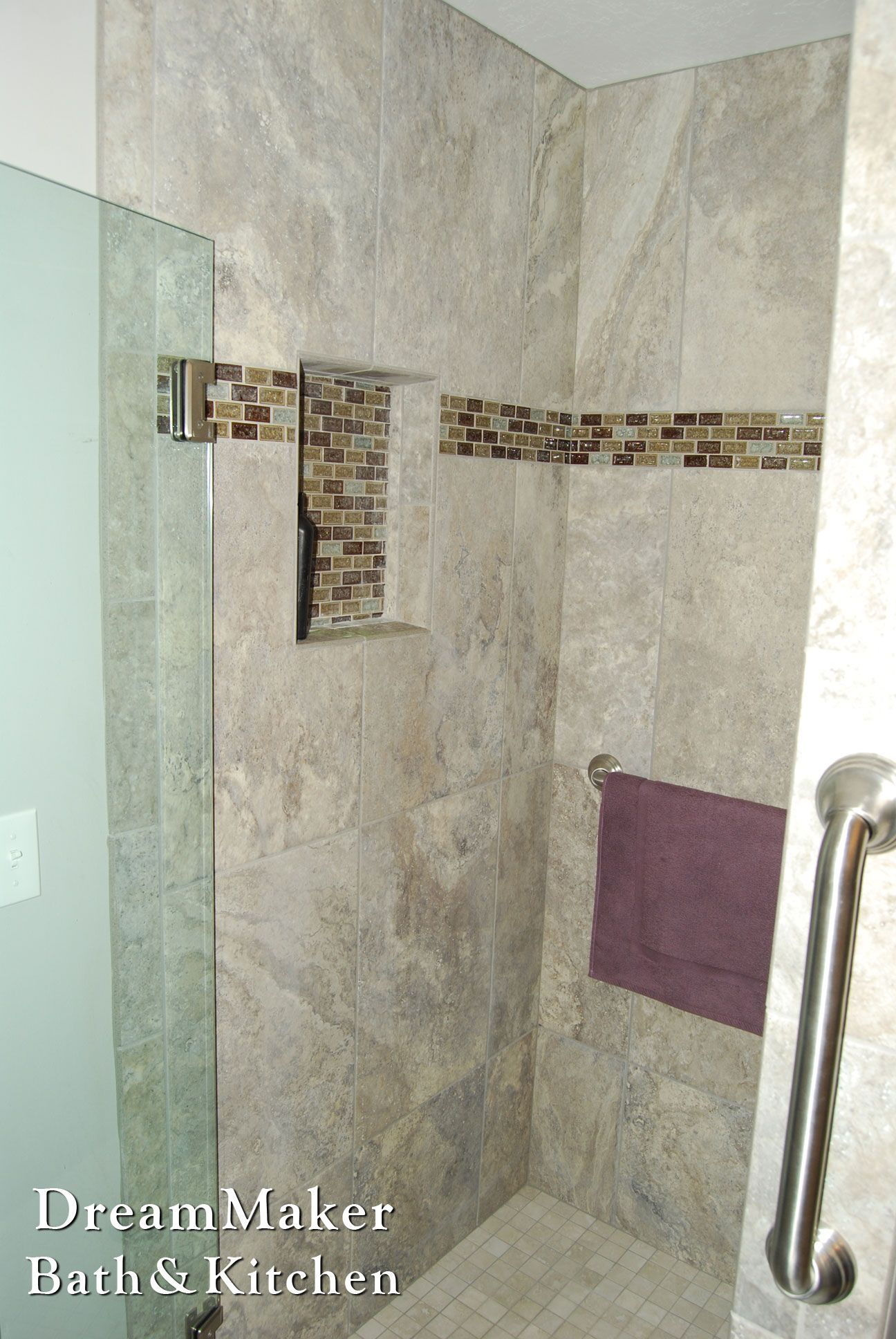 Light neutral shower surround with a mosaic trim and shelf! | Shower ...