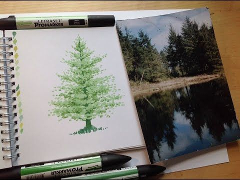 Drawing a fir tree with markers - Promarker tutorial