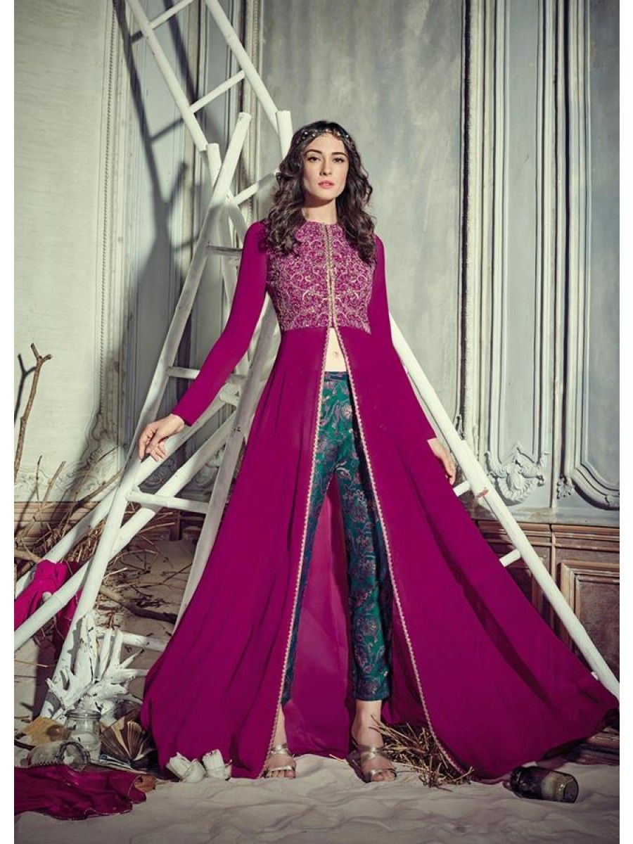 549bce61de Buy Stunning Rani pink color georgette pant style party wear salwar kameez  in UK, USA and Canada. Rani Colour Georgette Suit