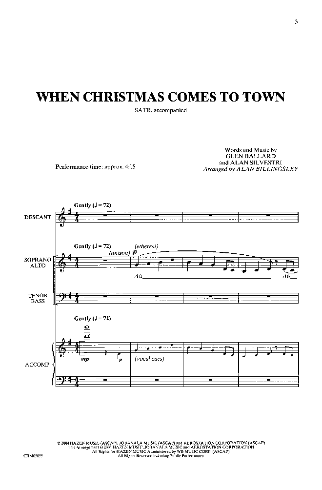 When Christmas Comes to Town (SATB ) arr  Al | J W  Pepper