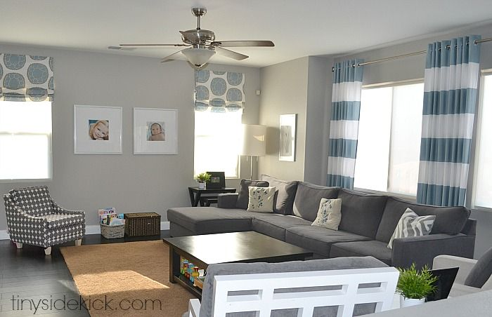 My paint colors greige with shades of blue gray walls Shades of gray for living room