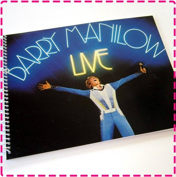 BARRY MANILOW LIVE Recycled / Upcycled Retro Record Album Cover Journal Notebook - Spiral Bound and Eco Friendly - Vintage Circa 1977- on Etsy, $12.95