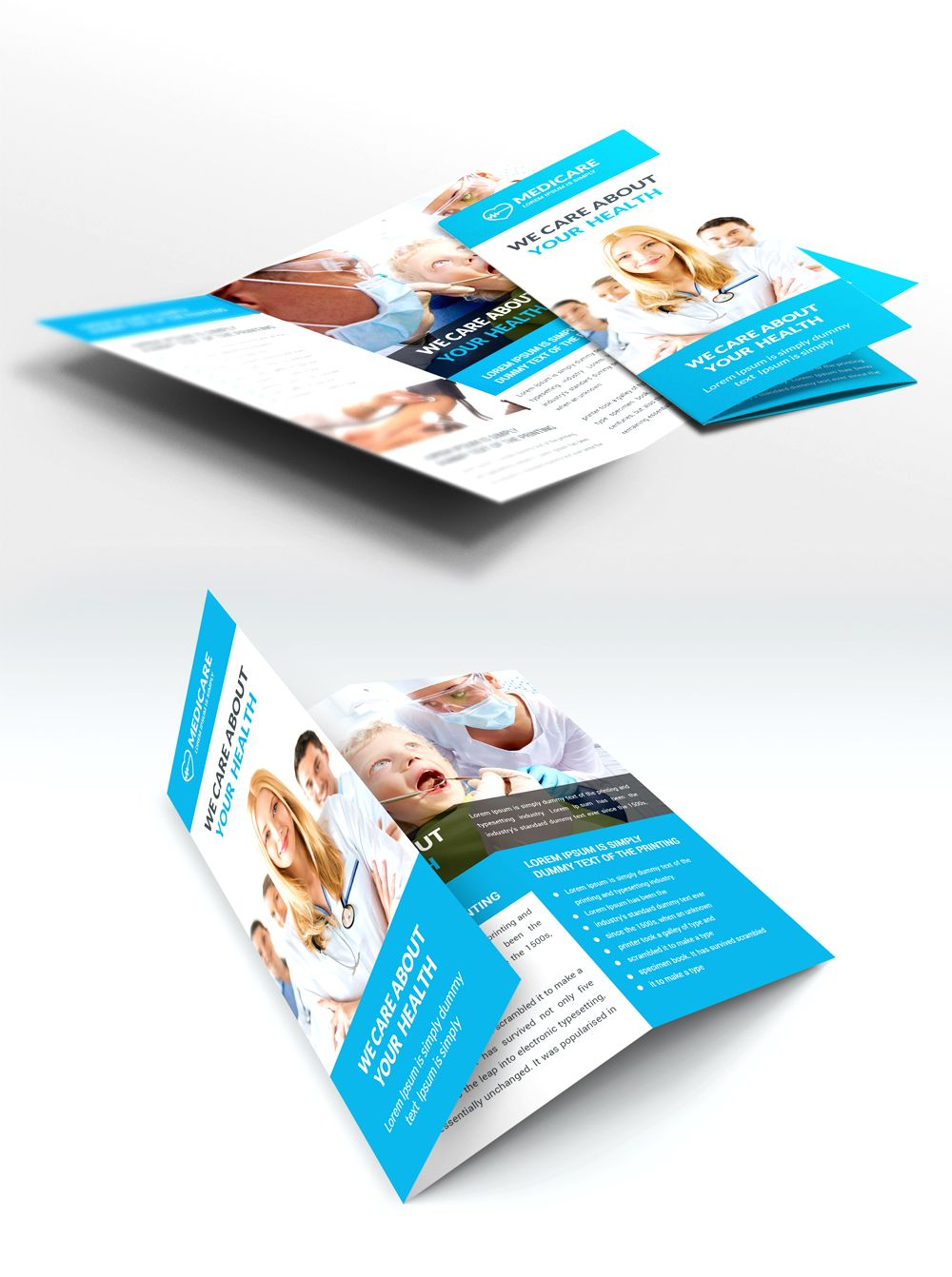 Medical Care And Hospital Trifold Brochure Template Free PSD - Trifold brochure template psd