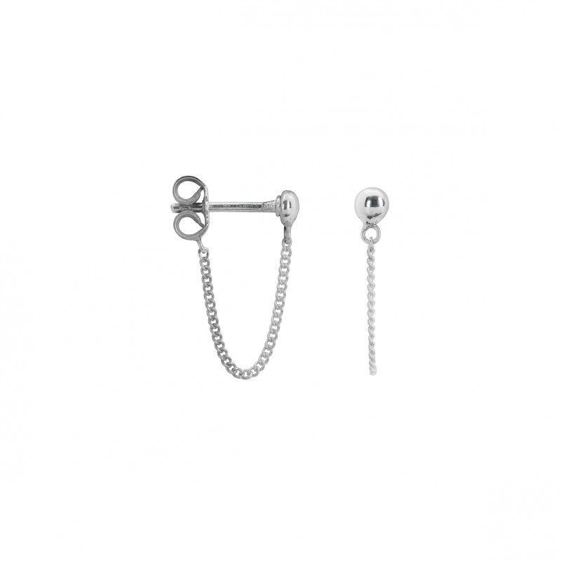 Stud Chain Earring Silver Anna Nina