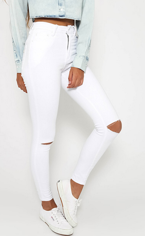 455eec9d710 Makiah Slit Knees Jeans | Classy and Geek | White ripped skinny ...