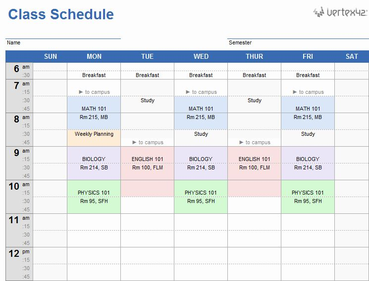 40 Time Management Schedule Template in 2020 Class
