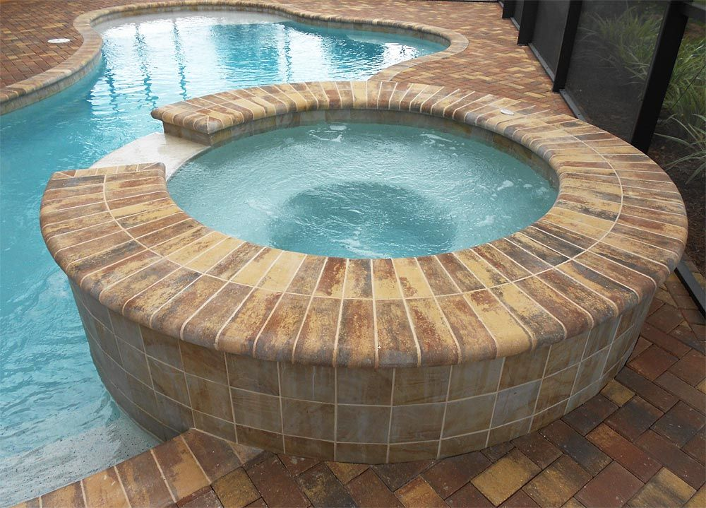 4x8 autumn blend brick paver pool deck with autumn blend regular