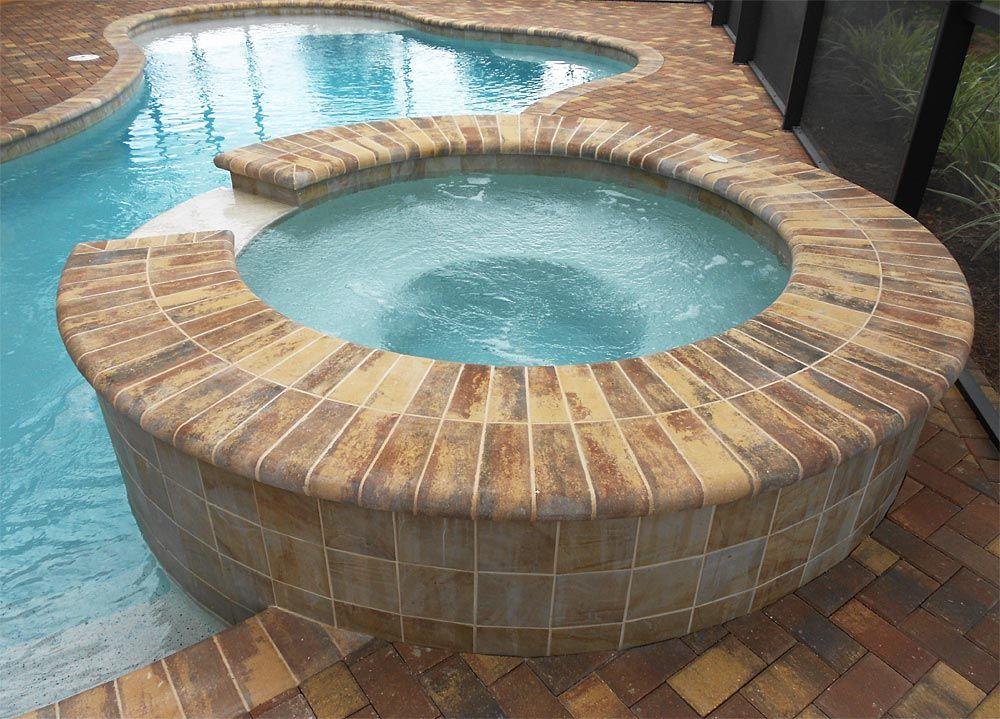 4x8 autumn blend brick paver pool deck with autumn blend regular