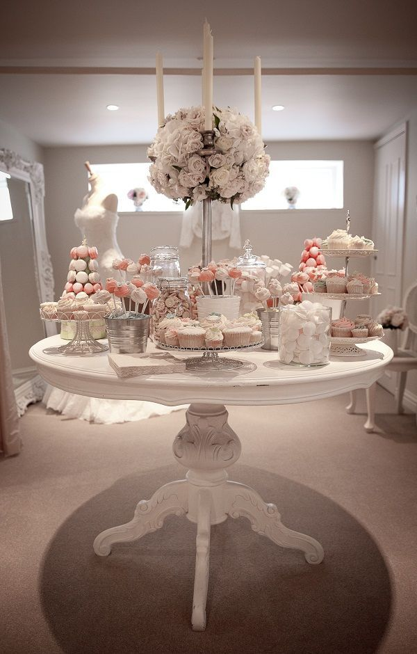 Wooden Candy Table ~ Vintage all white wedding dessert table