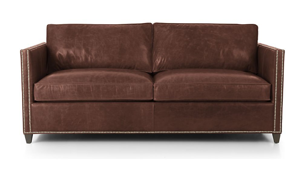 Dryden Leather Full Sleeper Sofa with Nailheads - Amaretto | Crate and Barrel