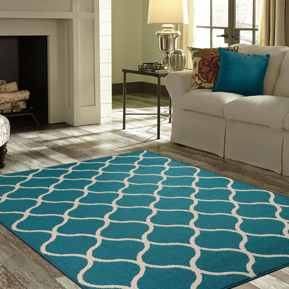 Sheridan Area Rug or Runner Teal 5\' x 7\' Living Room Decor Carpet ...