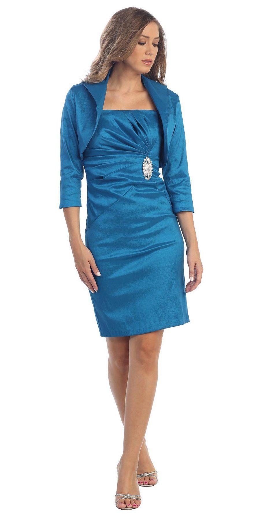 Taffeta Knee Length Red Dress Includes 3/4 Length Bolero Jacket ...