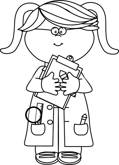 Clip Art Black And White Black And White Girl Scientist With A Clipboard Clip Art Image Black Girl Scientists Science Clipart Black And White Girl