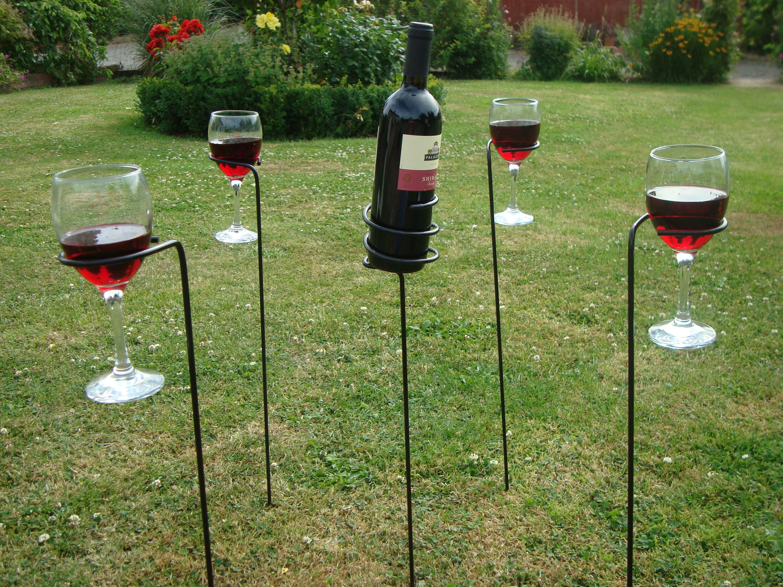 8df8144ba51 Outside wine glass holders for the patio | MR's | Wine bottle glass ...