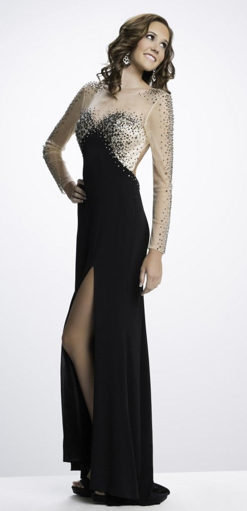 Riva Designs prom dress with sheer long sleeves and low back ...