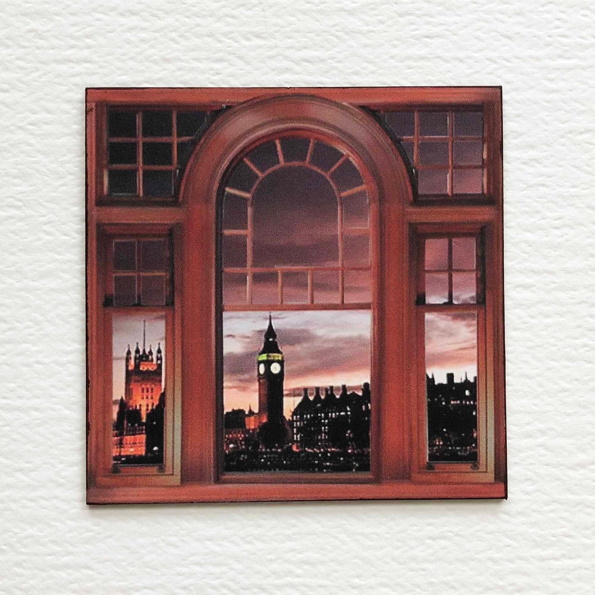Faux Miniature Victorian Windows With View of London Houses of Parliament and Big Ben