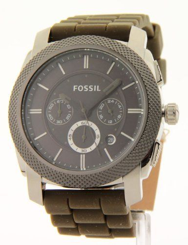 Fossil Men's Olive Green Silicone Chronograph Date Large Casual Watch Fs4597 by Fossil. $99.95. A fashion innovator, FOSSIL presents a mens large watch with a comfortable olive green silicone band. A bold black face with sleek textured bezel houses gunmetal grey hands, 3 Eye chronograph and a date window. An accessory of choice for the man of class! ****Features**** * All Stainless Steel Case & Buckle * Cool Comfortable Olive Green Silicone Band * Analog with Sharp Gunmetal Gre...