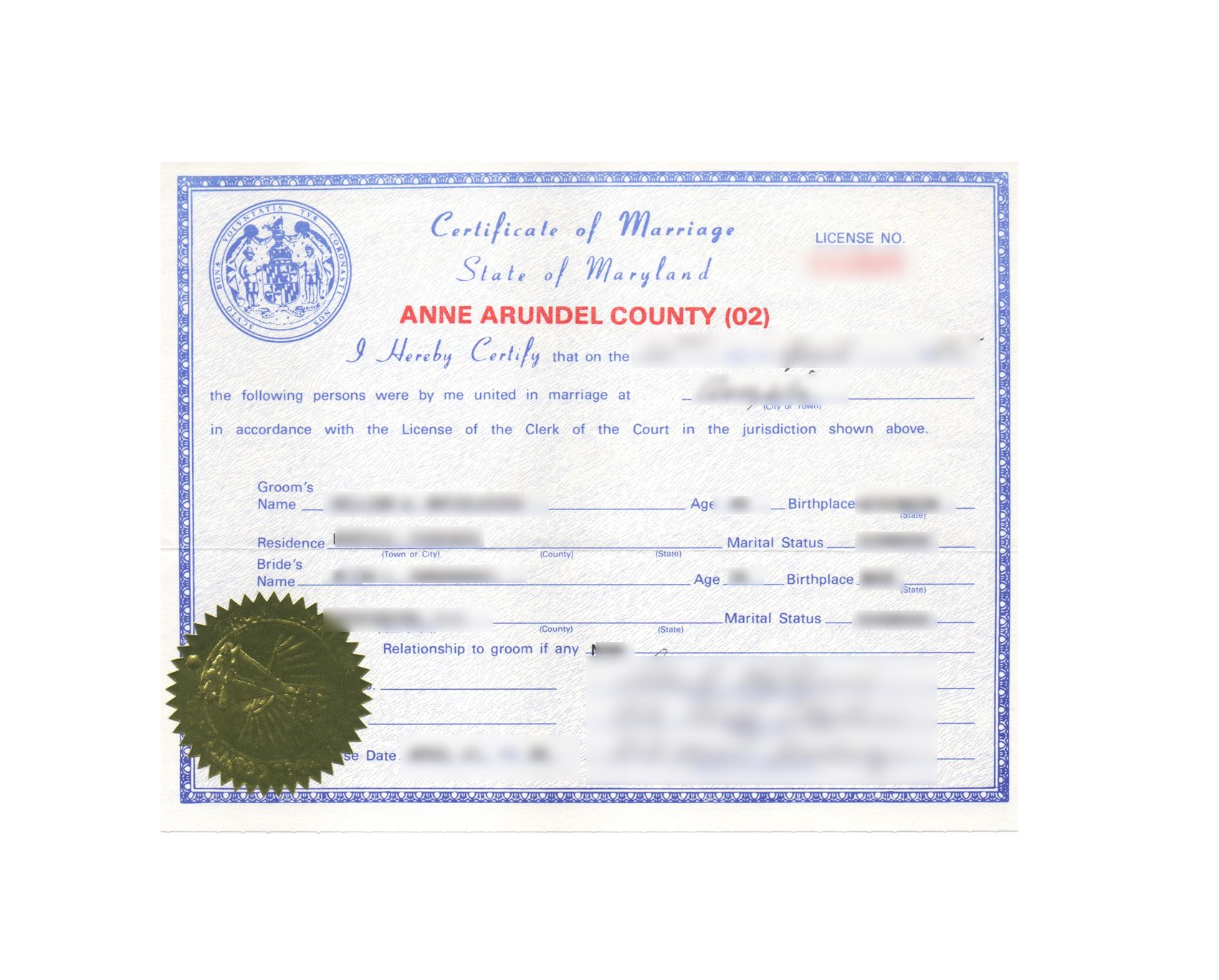 Anne Arundel County State Of Maryland Certificate Of Marriage Non