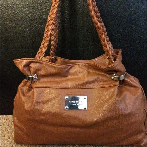 Nine West Brown Purse Preloved Handbag Braided Handles Two Open Pockets