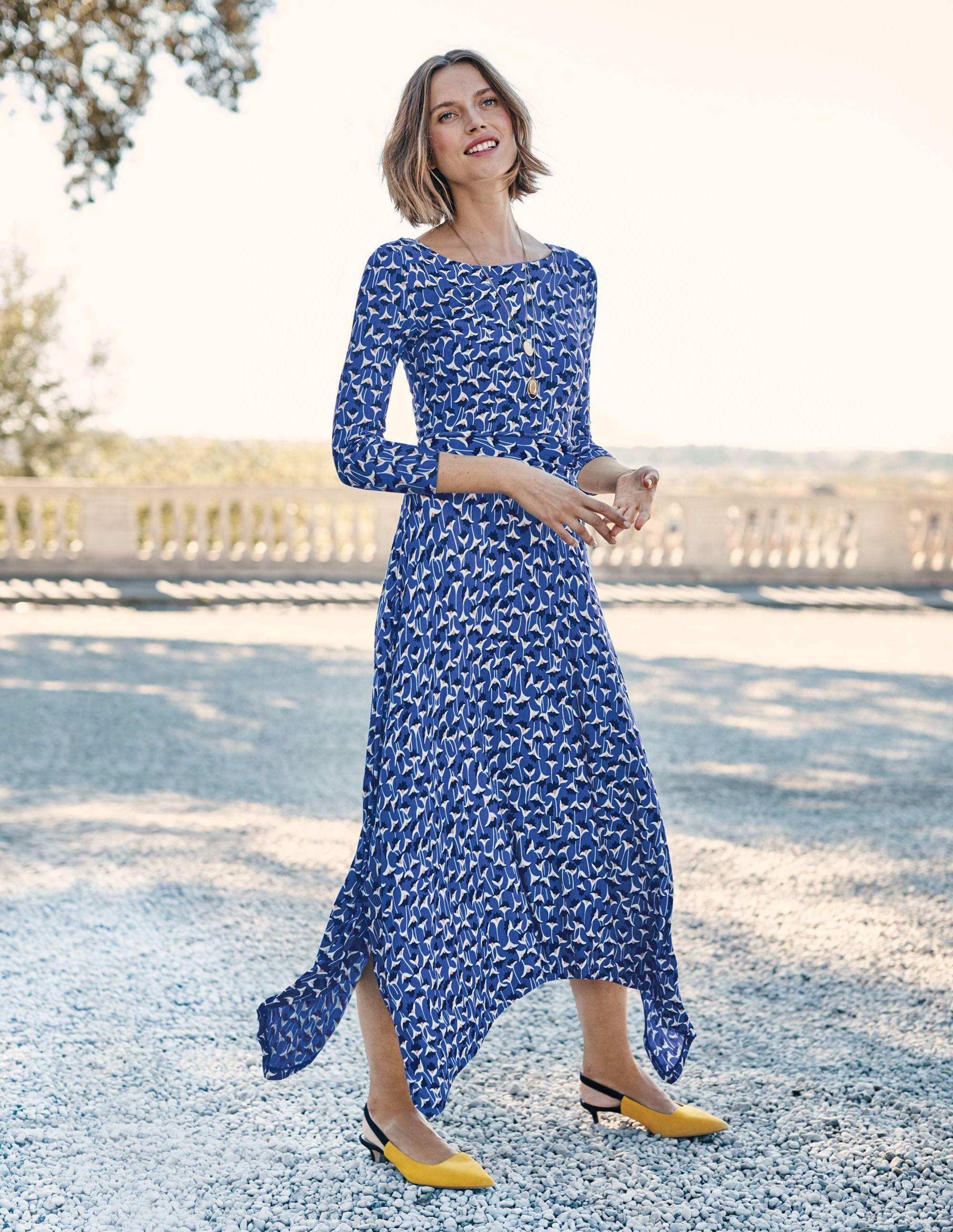 Maisie Jersey Midi Dress Cobalt Crocus Flower Kjoler [ 2586 x 2000 Pixel ]