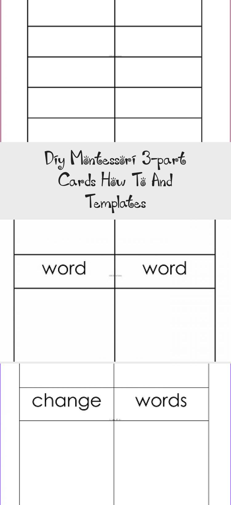 Diy Montessori 3 Part Cards How To And Templates Informational Blog Post And Video With Information About How In 2020 Templates Template Freebie Pinterest Templates