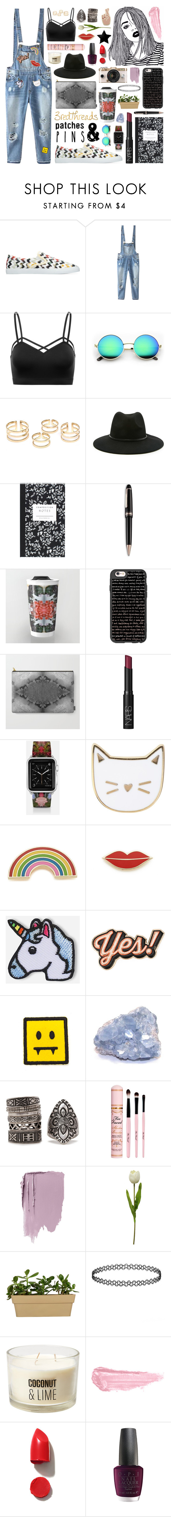 """Patches + Pins"" by levon-3redthreads ❤ liked on Polyvore featuring Relaxfeel, Forever 21, Dot & Bo, Montblanc, Casetify, NARS Cosmetics, Des Petits Hauts, Georgia Perry, Hipstapatch and Anya Hindmarch"