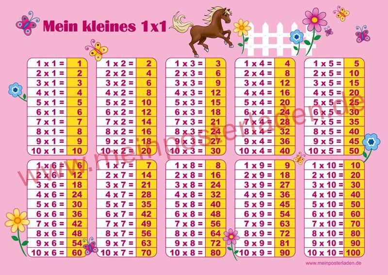 """1x1 Lernposter - Motiv: """"Pferd-rosa"""" passend zum Motiv gibt es auch Stundenpläne u. ABC Lernposter und großen Wandkalender/planer • www.meinposterlad..."""