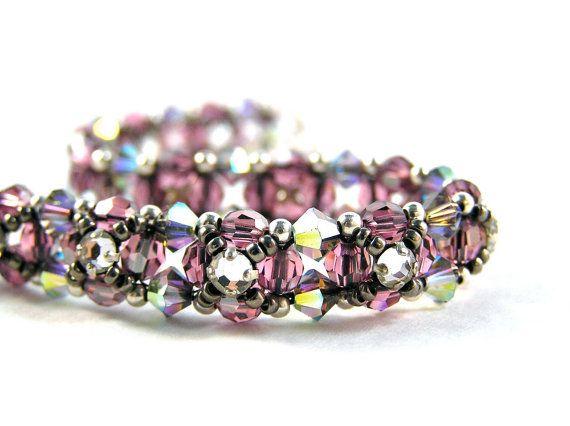 Vintage Rhinestone Flower Bracelet  Beadweaving  by knitbeadlove