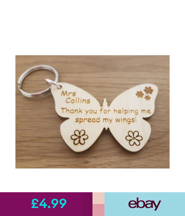 Personalised Keyring Thank you Teachers Gift School Leaving End of Term Presents