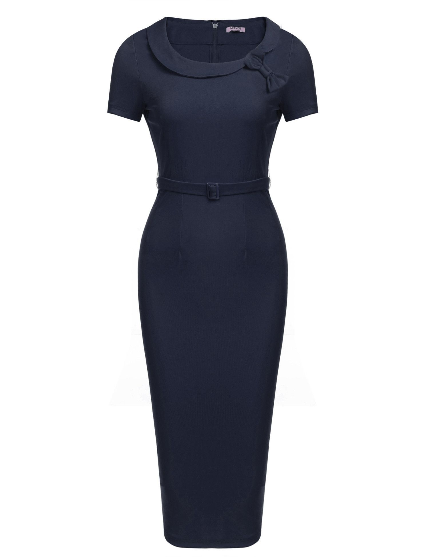 Navy blue bow peter pan collar short sleeves bodycon going out dress