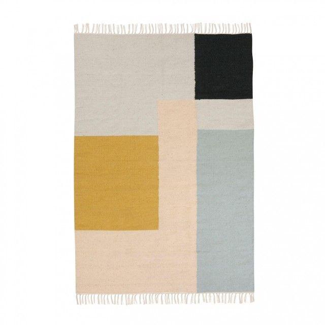 ferm LIVING - Squares Kelim Teppich - rosa grau gelb blau schwarz - wohnzimmer blau schwarz