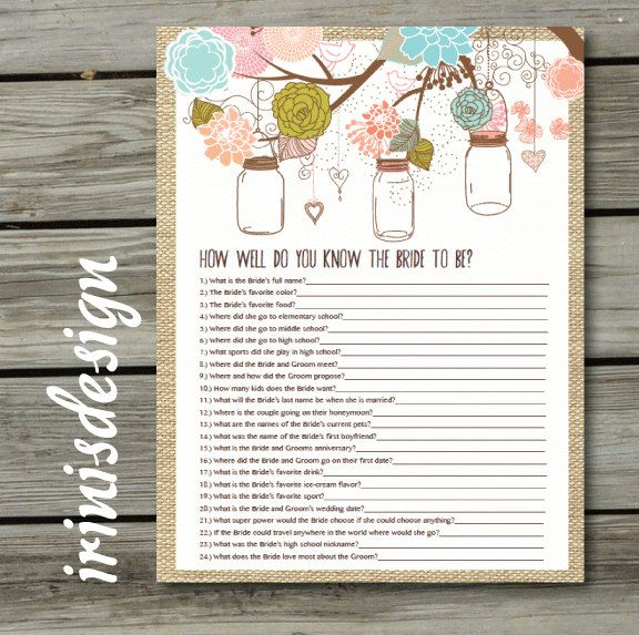 Country Rustic Shabby Chic Bridal Shower Quiz By Irinisdesign