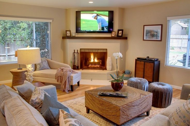 Corner fireplace layout house plans pinterest - Living room layout with corner fireplace ...