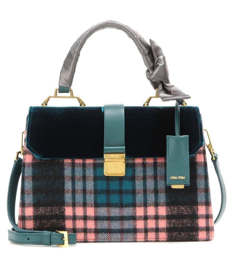 4c3cdc045f6f MIU MIU Velvet-trimmed tote.  miumiu  bags  velvet  tote  leather  lining   shoulder bags  hand bags  wool
