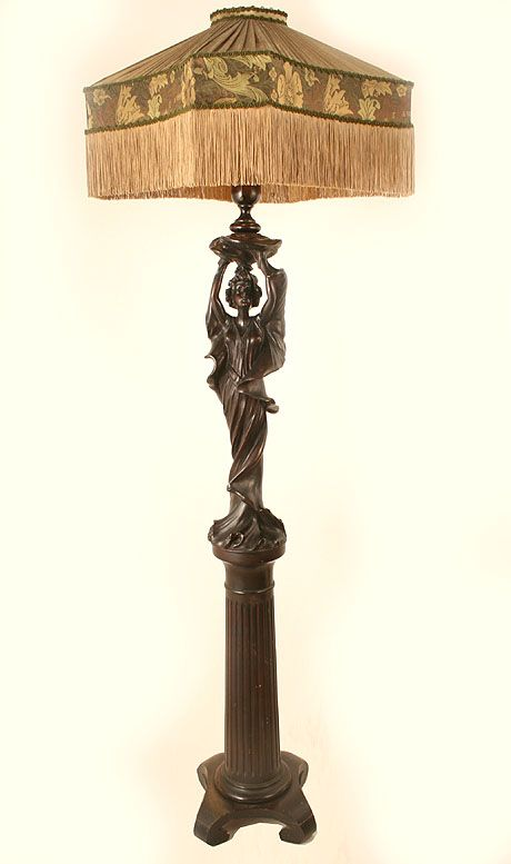 Antique Floor Lamp Circa 1910 Single Light Unique Carved