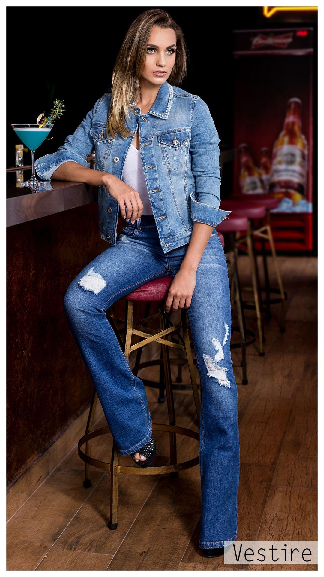5d51be6c8 Camisa Feminina. Vestire Jeans. Moda Feminina. Jeans Feminino. Calça Flare  Destroyer. Rips. Jaqueta Jeans. Bordado Perola