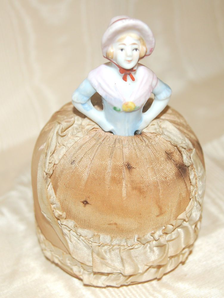 Antique Vintage Porcelain Pin Cushion - Victorian Lady