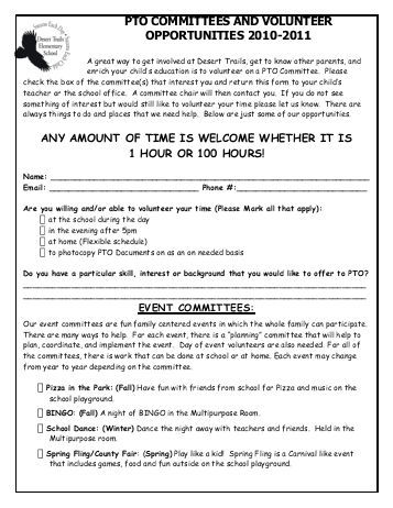 pto committee chair sign up sheets - Google Search