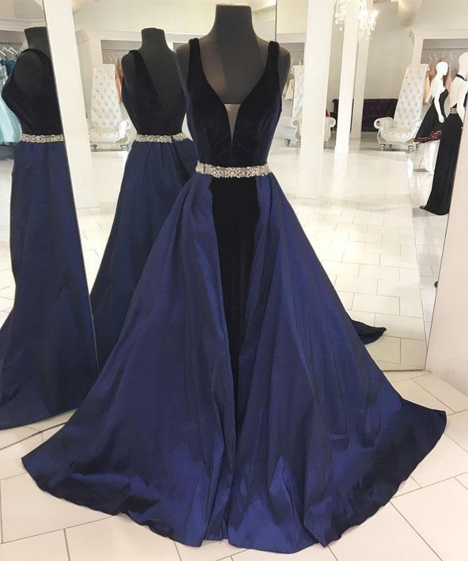 Simple Dark Blue V-Neckline Long Prom Dress,Backless Evening Dress ...