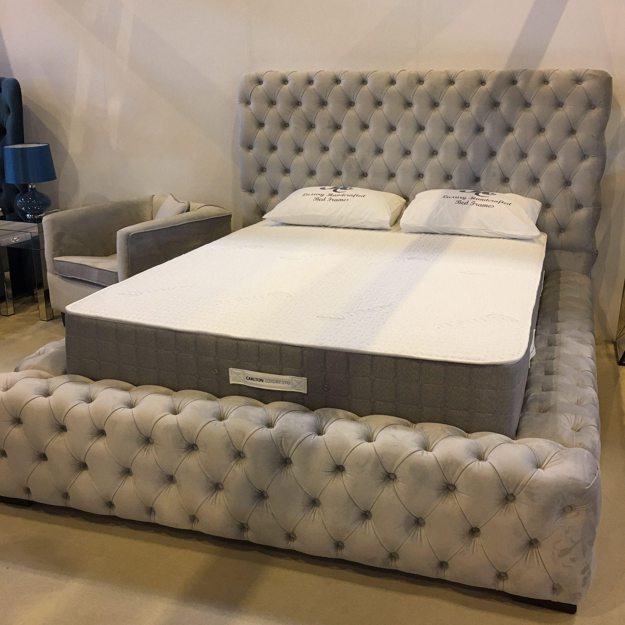 Sorrento Grey Suede Effect Velvet Super Buttoned Bed White Bed