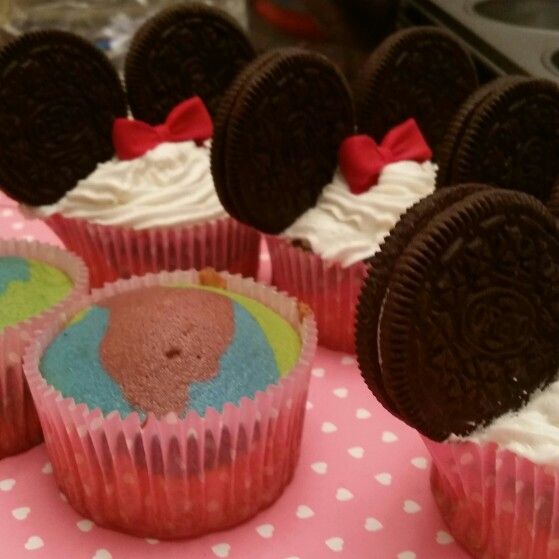 Mickey and Minnie Tie Dye Cupcakes -  Valentine's Day Treats for my sons Kindergarten Class