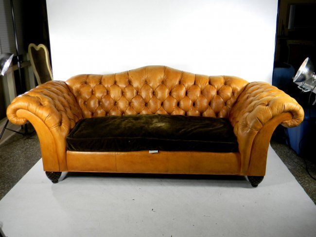 On Tufted Sofas Large Camel Back Caramel Leather Sofa Lot 71 Love Diffe Colored Cushions Any