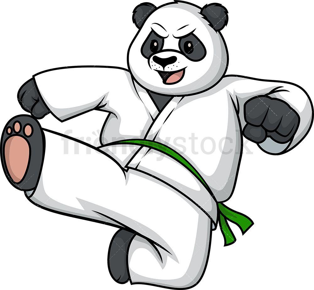 Bear Doing Karate Cartoon Clipart Vector Friendlystock Cartoon Clip Art Cartoon Karate