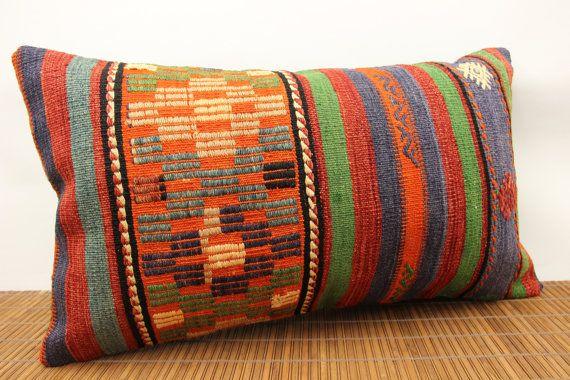 Handmade Lumbar Kilim pillow cover 16x28 inches by stripepattern