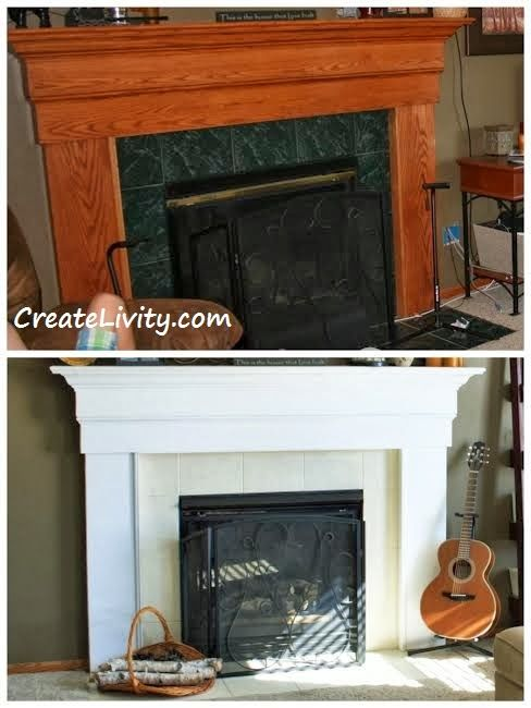 Fireplace Makeover Painting Tiles Before And After
