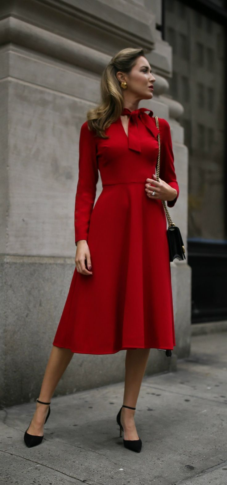 30 Dresses In 30 Days Business Conference Red Long Sleeve Fit And Flare Tie Neck Midi Dress Black Conservative Fashion Fashion Long Sleeve Cocktail Dress [ 1568 x 736 Pixel ]