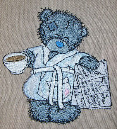 Teddy Bear favourite tea and evening newspaper machine embroidery