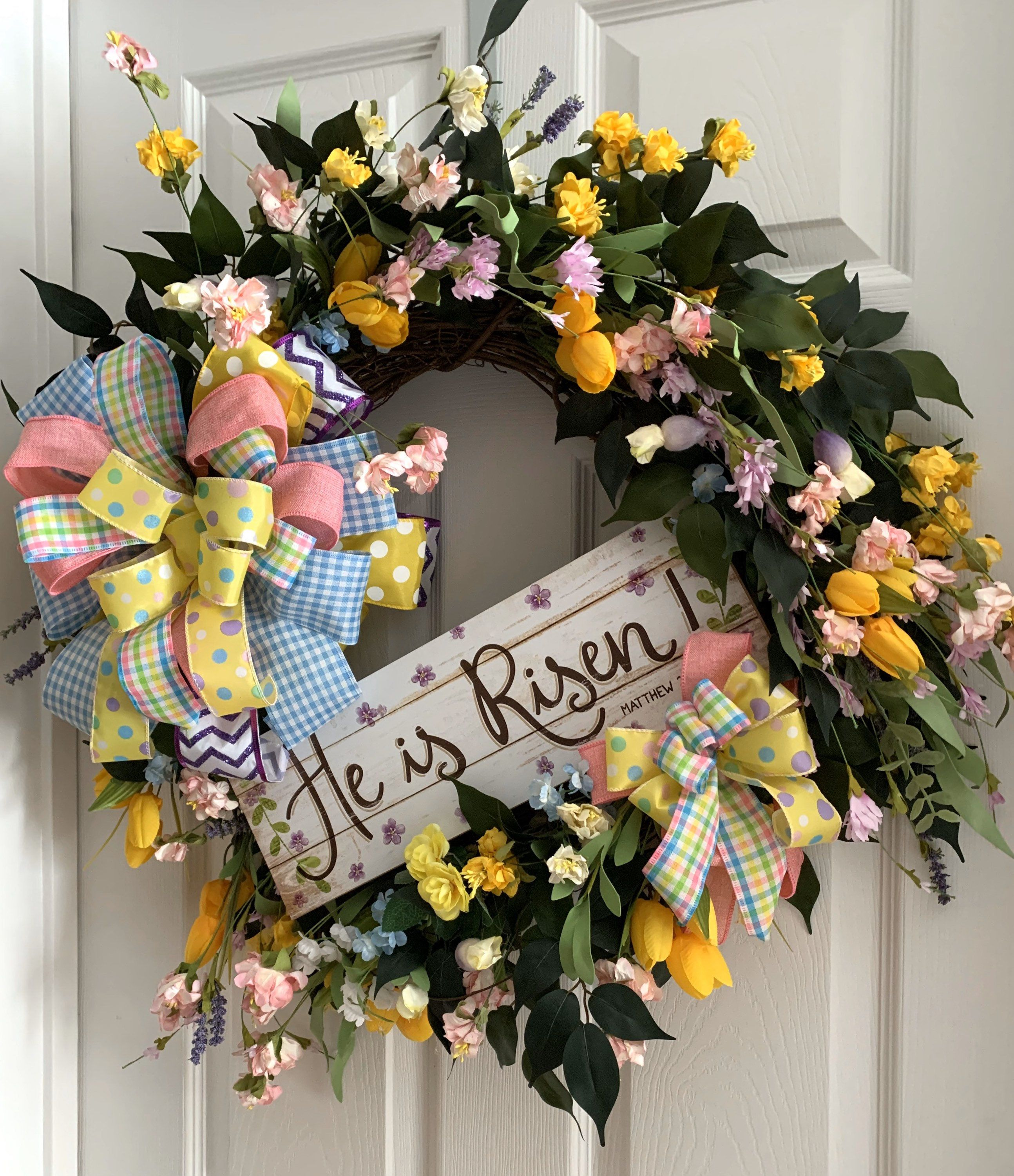 Photo of He is Risen Wreath,  Easter Wreath, Spring Easter Wreath, Spring Floral Decor