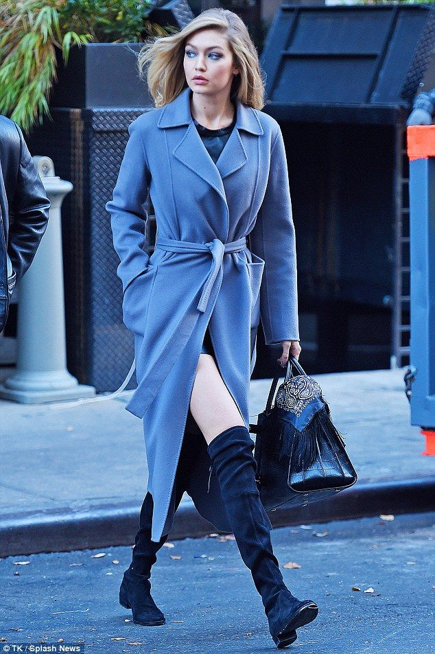 Gigi Hadid flashes her thighs on NYC set of Maybelline